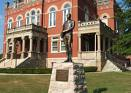 Historic Fayetteville Courthouse with statue of LaFayette